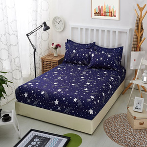 1pcs Polyester Bedsheet Blue Night Sky Printed Bedding Fitted Sheet Mattress Cover Bed Sheet With Elastic Band Bedspreads Sheets