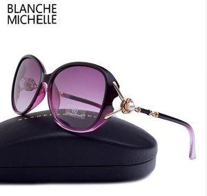 상자와 블랑쉬 미셸 고품질 편광 선글라스 여성 UV400 선글래스 그라데이션 일 안경 oculos
