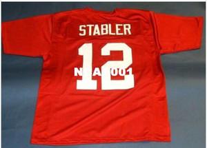Homens # 12 KEN STABLER CUSTOM ALABAMA CRIMSON MARÉ JERSEY SERPENTE College Jersey tamanho s-4XL ou personalizado qualquer nome ou número jersey