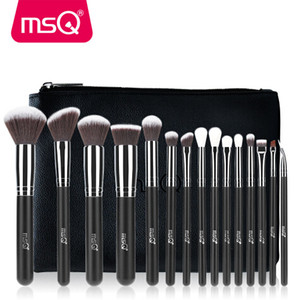 Quality 15pcs Makeup Brushes Set Foundation Eyeshadow Make Up Brushes Cosmetics Soft Synthetic Hair With PU Leather Case