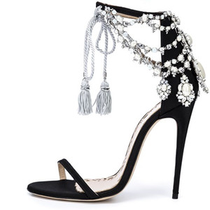Luxury Bling Bling Crystal Sandals Glittering Drape Pearls Shoes Lace-up Tassel Pumps Black Suede Thin Strap Ball Stiletto Shoes