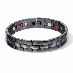 Schöne Qualität Health Power Armband Für Männer Schwarz Negativ Ion Fern Infrarot Titan Magnetische Therapie Armbänder Magnet Schmuck