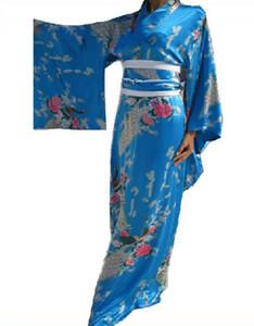 Chegada nova Azul Senhora Japonesa Yukata De Seda Tradicional Kimono Haori Com Obi Do Vintage Impresso Floral Vestido de Festa One Size JK011