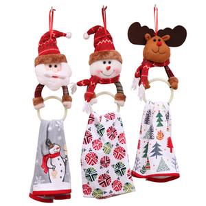 Decorazioni natalizie Asciugamano da appendere Anello da Babbo Natale Elmetto da pupazzo di neve Anello tondo Albero di Natale Ornamenti pendenti Capodanno Accessori da bagno