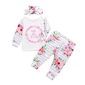 Bebê impressão Suits Floral Letter Adorável listrada manga comprida quebrados Flores elásticas calças fundo 3 peça Bow Headwear Outono