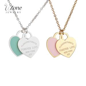 Famosa marca azul rosa corazón colgante collares collar de acero inoxidable 316L para regalo de las mujeres joyería de lujo