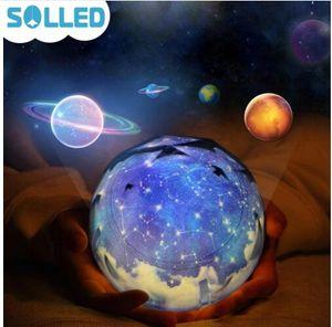 Starry Sky Magic Star Moon Planet Lámpara de proyector giratoria Luz de noche LED Cosmos Universe Luminaria Baby Light para regalo de año nuevo