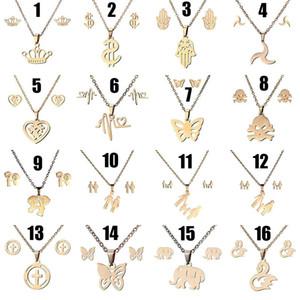 Orecchini a bottone in titanio Orecchini a bottone Set di gioielli Corona Stella Cuore Farfalla Elefanti mamma e papino Catene pendenti Gioielli dropship