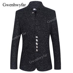 GwenhwyfarBlazer Uomini 2018 Inverno Nuovo stile cinese Business Casual Stand Collare Maschio Blazer Slim Fit Mens Blazer Party Jacket