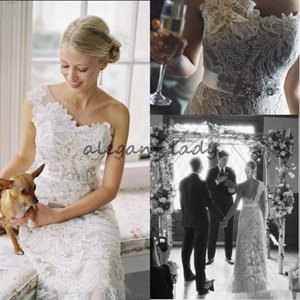 One Shoulder Full Lace Mermaid Wedding Dresses With Crystals Sash Plus Size 2018 Vintage Bohemian Beach Country Bridal Wedding Gowns