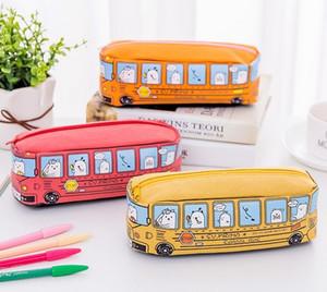 Lindo Lápis Sacos Primo School Bus Lápis Malotes Escritório Escola Suprimentos Assorted Cor Top Zíper Lápis casos