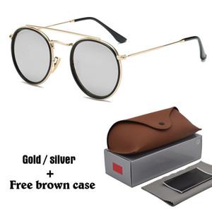 2020 Marque Designer Round Lunettes de soleil en métal Hommes Femmes Steampunk Mode Lunettes Rétro lunettes de soleil avec des cas et le coffre