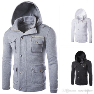 Mens Hoodies Coat with Pocket and Button Design Streetwear Casual Style W04