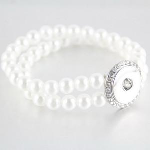 18 millimetri Noosa Pearl Bead braccialetto Double Layer bottoni a pressione braccialetti del braccialetto per le donne Lady ragazze gioielli regalo regalo di Natale all'ingrosso