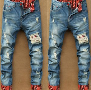 European and American fashion vintage cotton straight through holes in the waist of men's jeans trousers