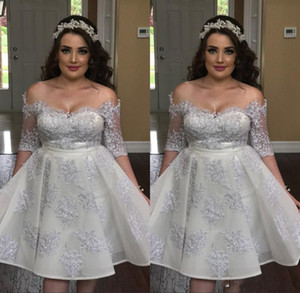 Short Graduation Dresses Lace Appliques Off the Shoulder Half Sleeve Fitted Knee Length Customize Illusion Back Party Gowns Homecoming Dress