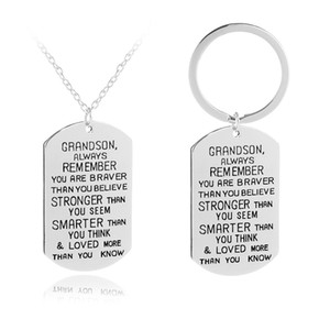 To My GrandSon Dog Tag Military Always Remember You Are Braver Stronger Smarter Than You Think Nekclace Keychain Energy Gift