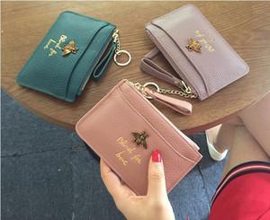 2019 Kadın cüzdanı Dikdörtgen Hakiki deri Kadın cüzdanı Sıfır çanta Küçük. Cüzdan. Kart çanta balarısı Kısa Kredi Kartı Fermuar Q22457