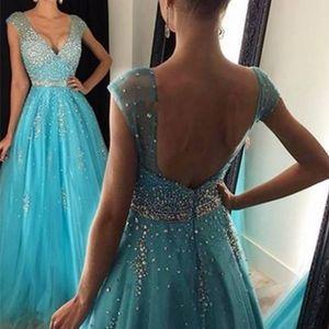 Special Desgin Prom Dresses A Line V Neck Crystals Backless Evening Dresses Long Vestido De Festa Cap Sleeve