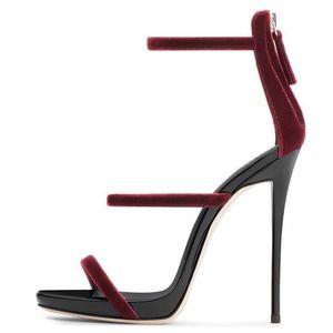 Sandalia Feminina Red Wine Velvet Sandali con cinturino Tacco alto 12MM Sandali con tre cinturini Donna Cut-out Peep Toe Scarpe estive