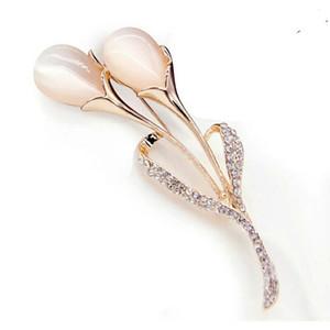 Moda Çiçek Broş Konfeksiyon Elbise Kristal Kadınlar için Simüle Opal Lale Broşlar broş Düğün Gelin Takı Güzel Hediye Toptan