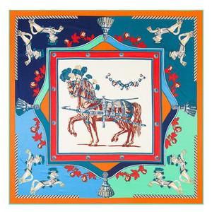 Nova Chegada Sarja Lenço De Seda Lenço Quadrado Mulher France War Horse Imprimir Moda Lenço De SedaWraps Hijab Xailes Femininos 130 cm x 130 cm