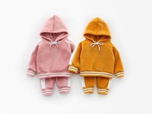 2018 Baby Boy и девочек в полоску Baby утолщают Silver Fox спортивный набор