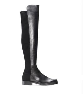 Paris Classique 5050 Élastique Bottes Talon 2.5cm Automne Et Hiver Femmes Nouveau Cuir Slim Chaussures Avec Des Jambes Mince Bottes Longues Filles