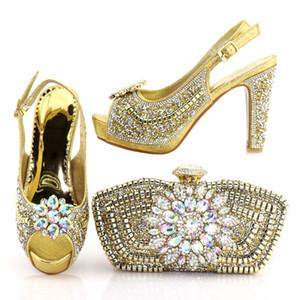 1719-1 2018 ouro Cor Italiana Sapatos e Bolsas Para Combinar Sapatos com Saco Set Decorado com Rhinestone Nigeriano Sapato Festa e Conjuntos de Saco