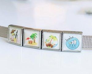 50 шт. 8 мм квадратный пластиковый летний пляж печать слайд прелести DIY аксессуары подходят 8 мм воротник ремни браслеты