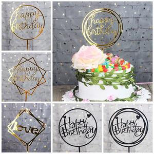 Kreative Reflektierende Heimat Liebe Alles Gute Zum Geburtstag Wed Gold Cake Topper Karte Acryl Für Geburtstag Party Hochzeitstorten Dekorationen Liefert