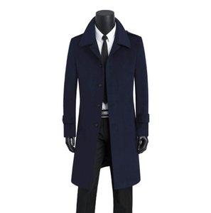 Синее повседневное длинное шерстяное пальто мужские плащи с длинными рукавами пальто мужское кашемировое пальто casaco masculino inverno erkek england
