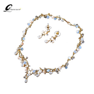 QUEENCO Crystal Teardrop Wedding Jewelry Sets Rhinetone Choker Necklace and Earrings Gold Color Bridal Jewelry Sets for Women