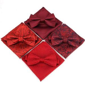 Paisley boda del arco del lazo pañuelo conjunto de poliéster bowknot conjunto pañuelo para la mariposa partido de anacardo los hombres de negocios de bolsillo cuadrado rojo