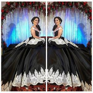 2021 공식 고딕 블랙 스위트 16 무도회 Quinceanera 드레스 화이트 레이스 아랍어 Vestidos 15 Anos Girl Birthday Prom 가운 사용자 정의