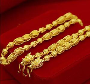 pesado Pesado! Cuenta de transporte 48g 24k dragón Real Amarillo Oro macizo Collar de hombre Cadena de acera 5 mm Joyas letras de marca de menta 100% oro real