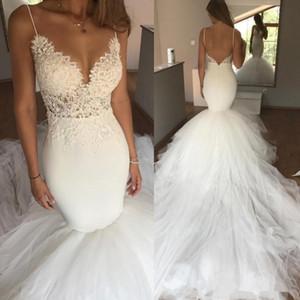 Sexy Spaghetti-Trägern Mermaid Brautkleider Open Back Spitze Applique Bridal Brautkleider Lange Tüll Trompete Vestidos De Novia