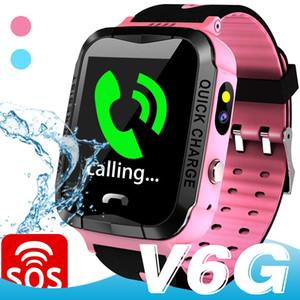V6G Crianças relógio inteligente IP67 Waterproof GPS Tracker SOS Chamada de monitoramento Camera alarme de posicionamento móvel inteligente relógios para Kid Criança