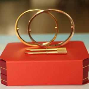 Titan Stahl Liebe Armbänder Silber Rose Gold Armreifen Frauen Männer Schraube Liebe Armband Paar Armreif Modeschmuck mit Originalverpackung Set