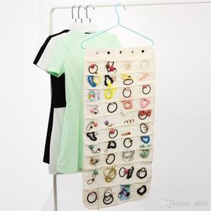 Exhibición de la joyería Almacenamiento Bolsa colgante Doble cara Collar de múltiples colores Pulsera organizador Bolsa fácil Llevar 17 64kj C R