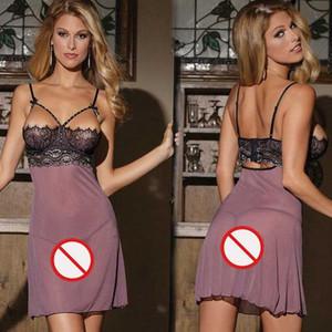 Trasporto libero Nuova biancheria sexy cosplay sexy multi-codice strass grandi dimensioni divertimento pigiama imbracatura camicia da notte viola
