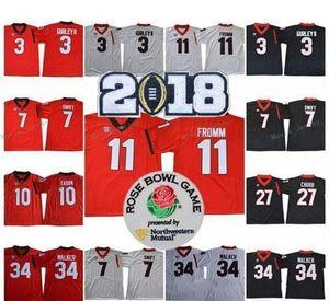 2018 Nova Geórgia Bulldogs 11 Jake Fromm 7 D'Andre Swift 27 Nick Chubb 34 Herchel Walker 3 Todd Gurley II Colégio Futebol Jersey