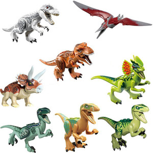 8pcs / set 공룡 Indominus Rex Echo Dilophosaurus Pterosauria Tyrannosaurus 빌딩 블록 완구 jurassic world