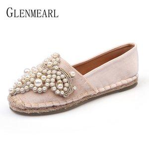 브랜드 여성 로퍼 Fisherman Shoes Flats Espadrilles 진주 캐주얼 보트 신발 여성용 플러스 사이즈 Velvet NewDE