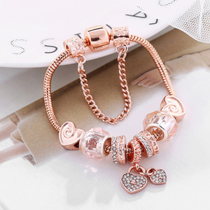 Fashion creative European and American flower pendant bracelet suitable for Pandora style diy Rose gold plated bracelet jewelry free shippin
