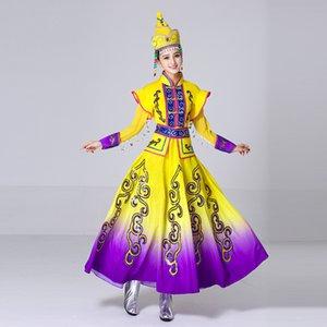Nouveau design long Mongolian Danse Vêtements minorité ethnique robe Performance chinoise Folk Danse Costumes de scène pour chanteurs
