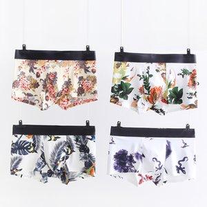 Mens Floral Print confortable sous-vêtements Boxers sous-vêtements respirants Vêtements mode mens sans couture sous-vêtements Boxers L-4XL