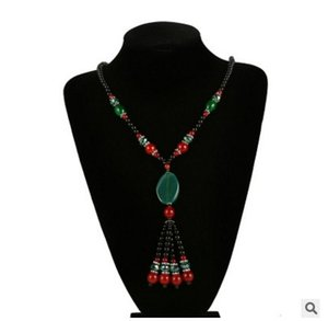 Jiasha 2017 neue europäische Mode Retro-Stil natürliche Achat Halskette Pullover Halsketten Großhandel
