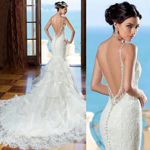 Vestidos de boda atractivos de la sirena Vestidos de novia largos del cordón del amor Correas de espagueti Ruffles Vestidos de boda por encargo de la organza