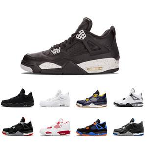 2018 más nuevos 4 4s hombres zapatos de baloncesto Pure Money Premium Black Cat cemento blanco Bred Fire rojo miedo Alternate zapatos deportivos zapatillas de deporte